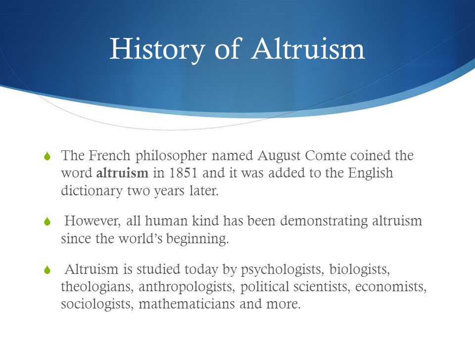History of Altruism