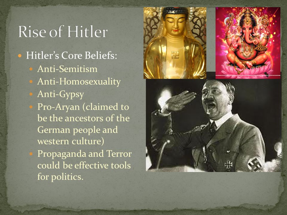 Rise of Hitler Hitler's Core Beliefs: Anti-Semitism Anti-Homosexuality