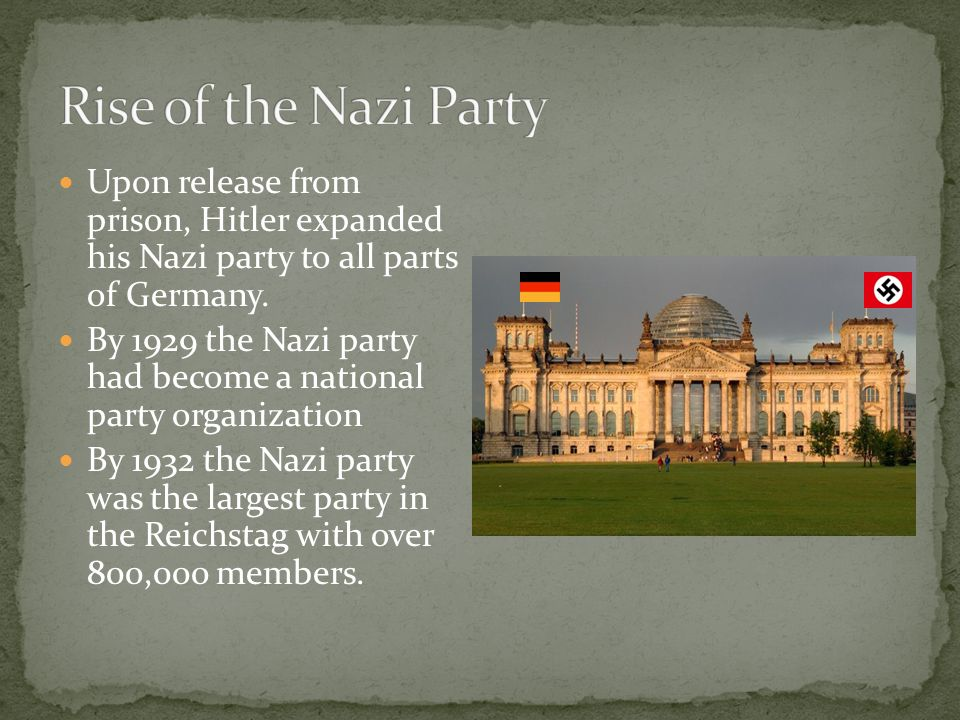Rise of the Nazi Party Upon release from prison, Hitler expanded his Nazi party to all parts of Germany.