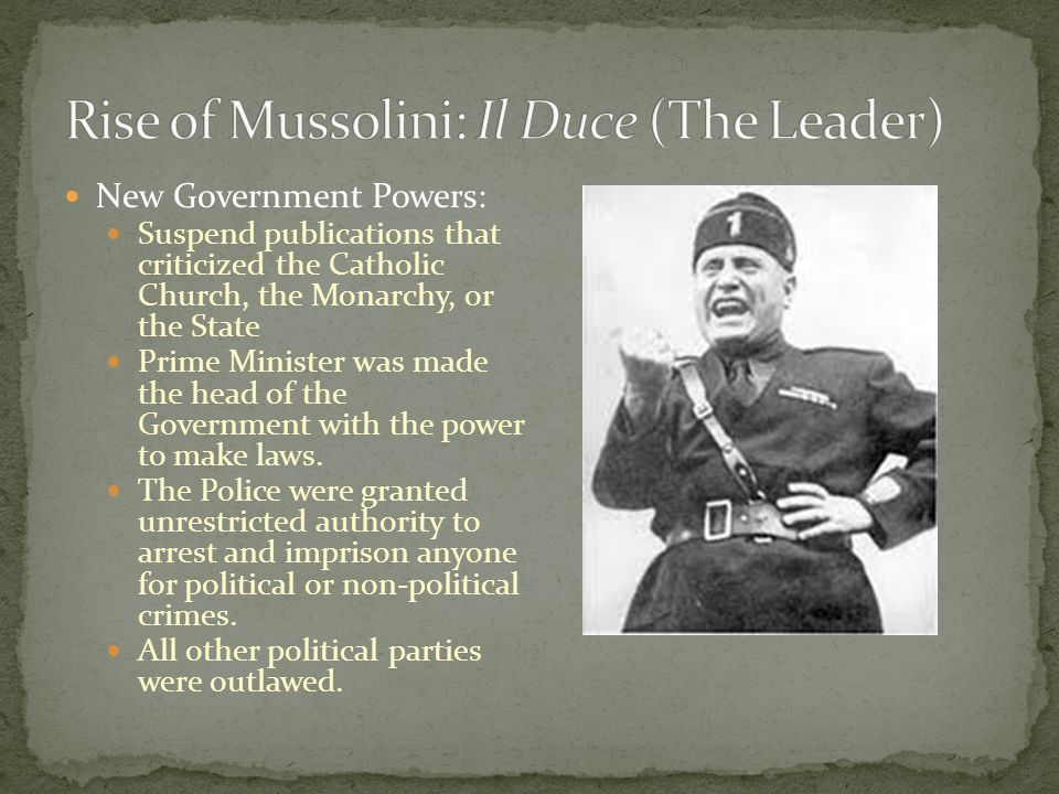 Rise of Mussolini: Il Duce (The Leader)
