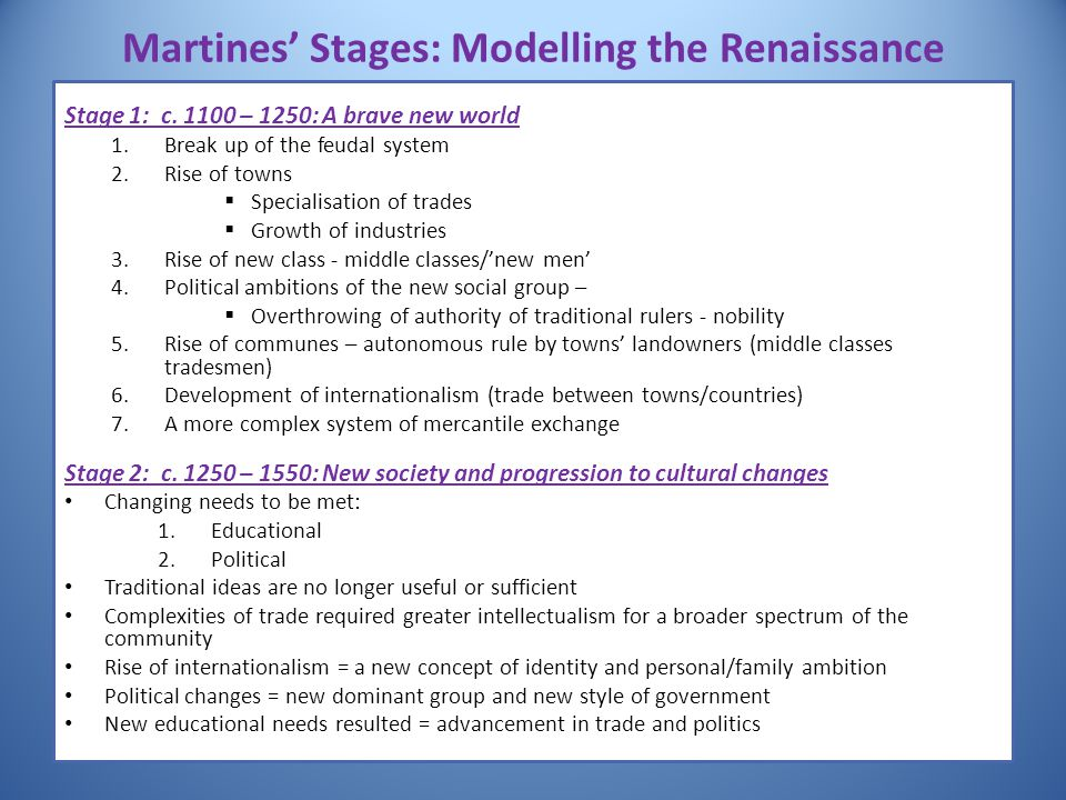 Martines' Stages: Modelling the Renaissance