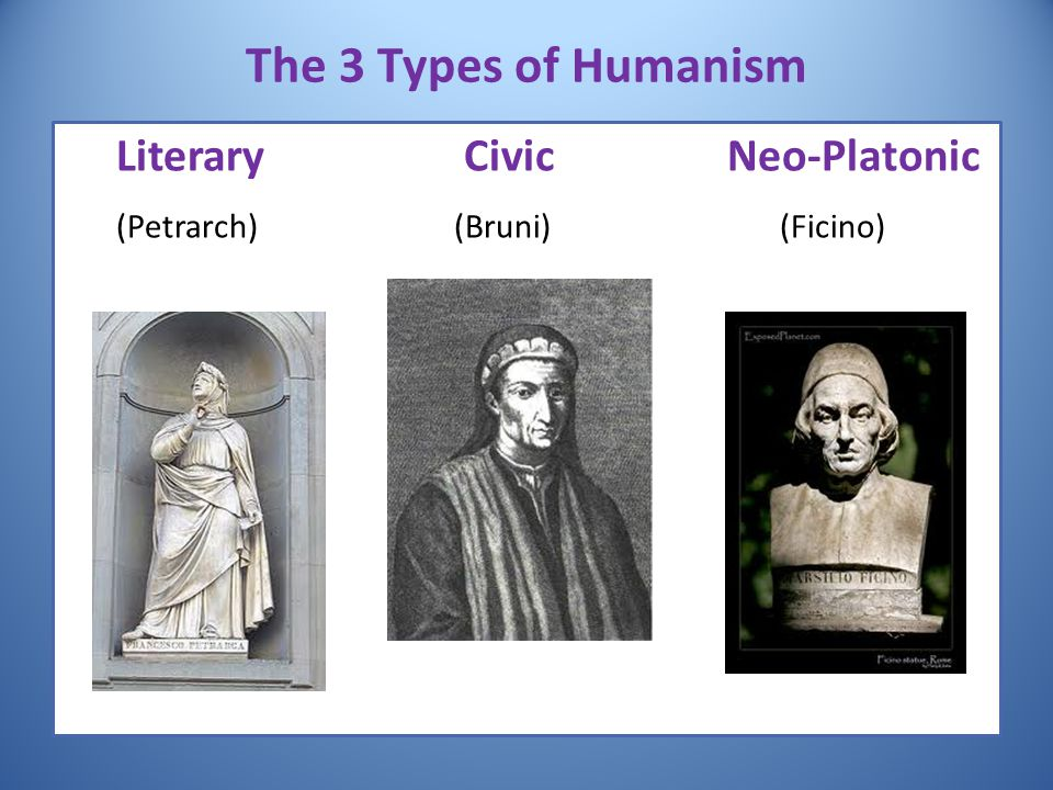 The 3 Types of Humanism Literary Civic Neo-Platonic (Petrarch) (Bruni) (Ficino)