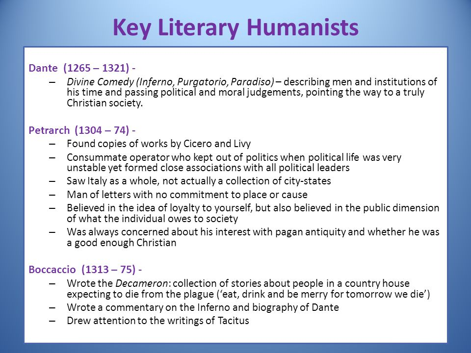 Key Literary Humanists