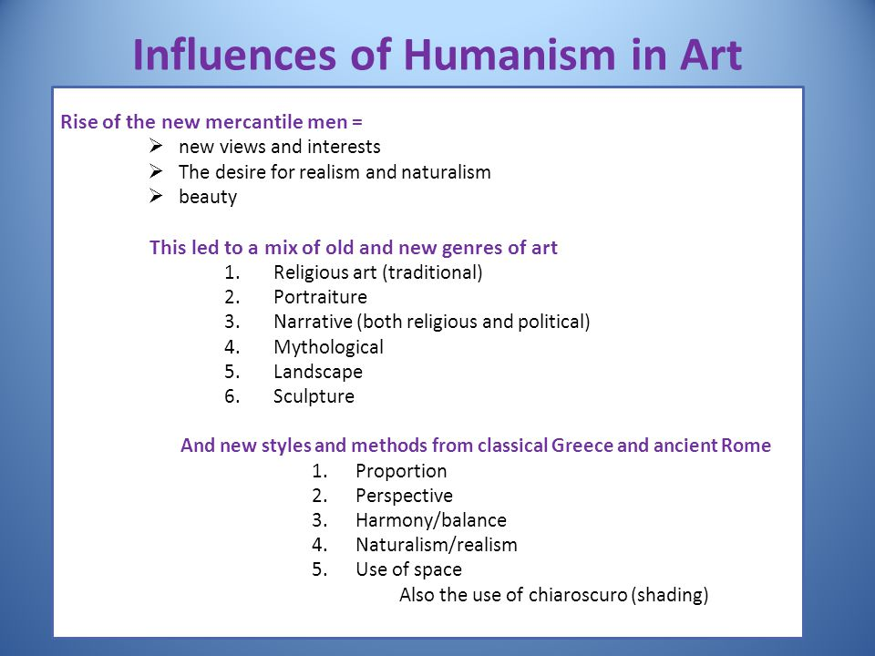 Influences of Humanism in Art