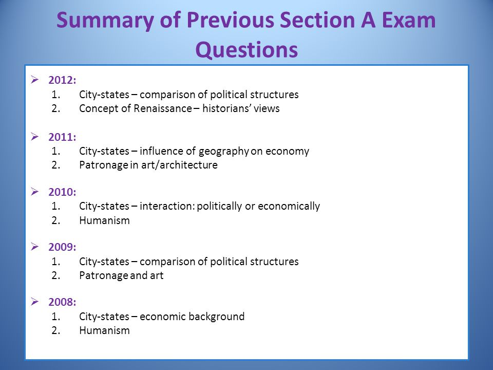 Summary of Previous Section A Exam Questions
