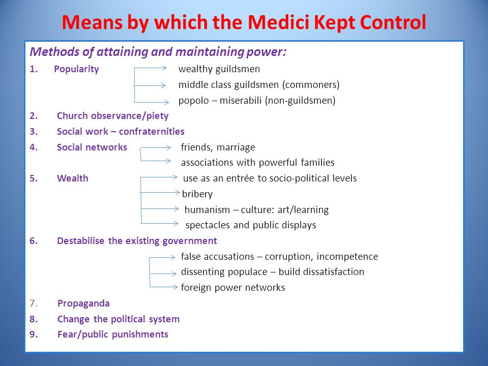 Means by which the Medici Kept Control