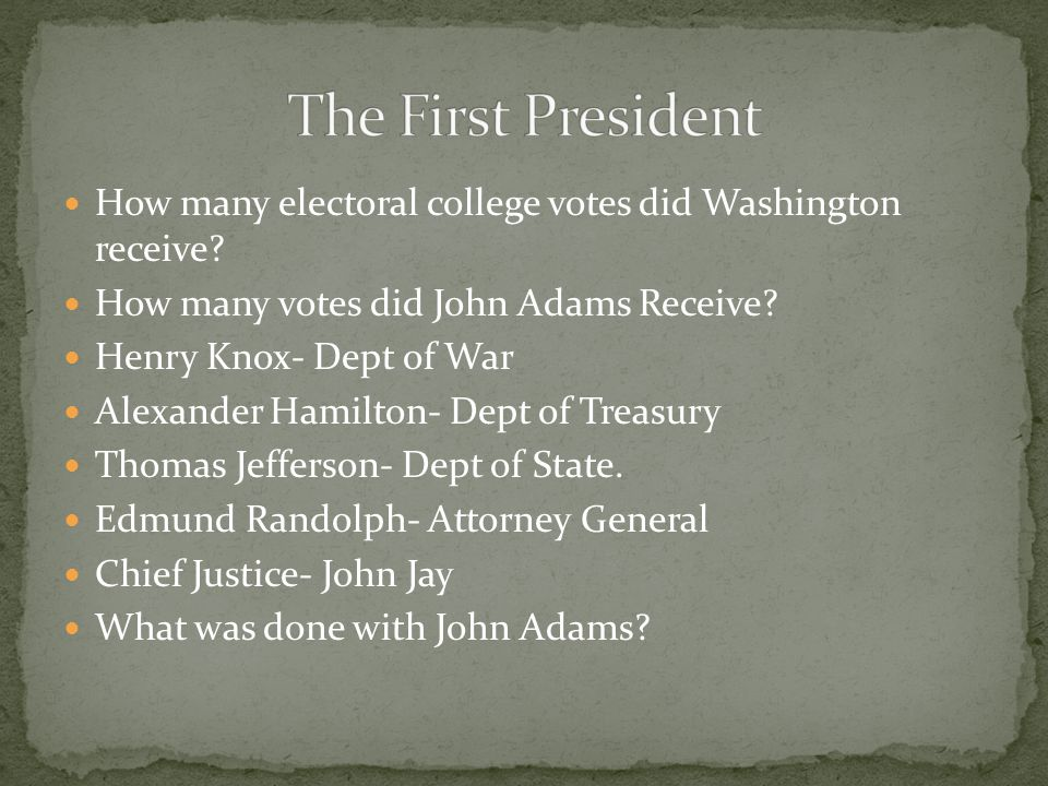 The First President How many electoral college votes did Washington receive How many votes did John Adams Receive