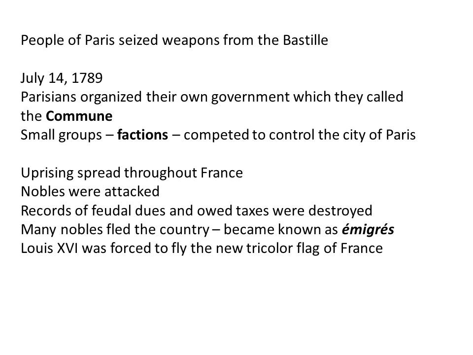People of Paris seized weapons from the Bastille