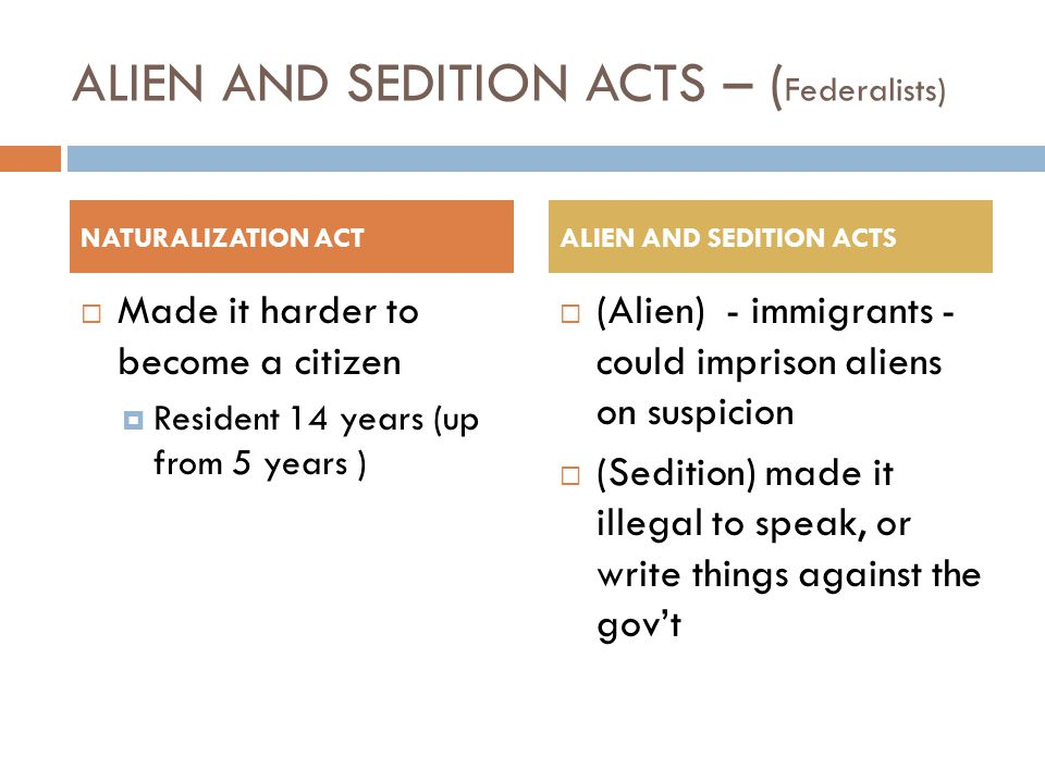 ALIEN AND SEDITION ACTS – (Federalists)