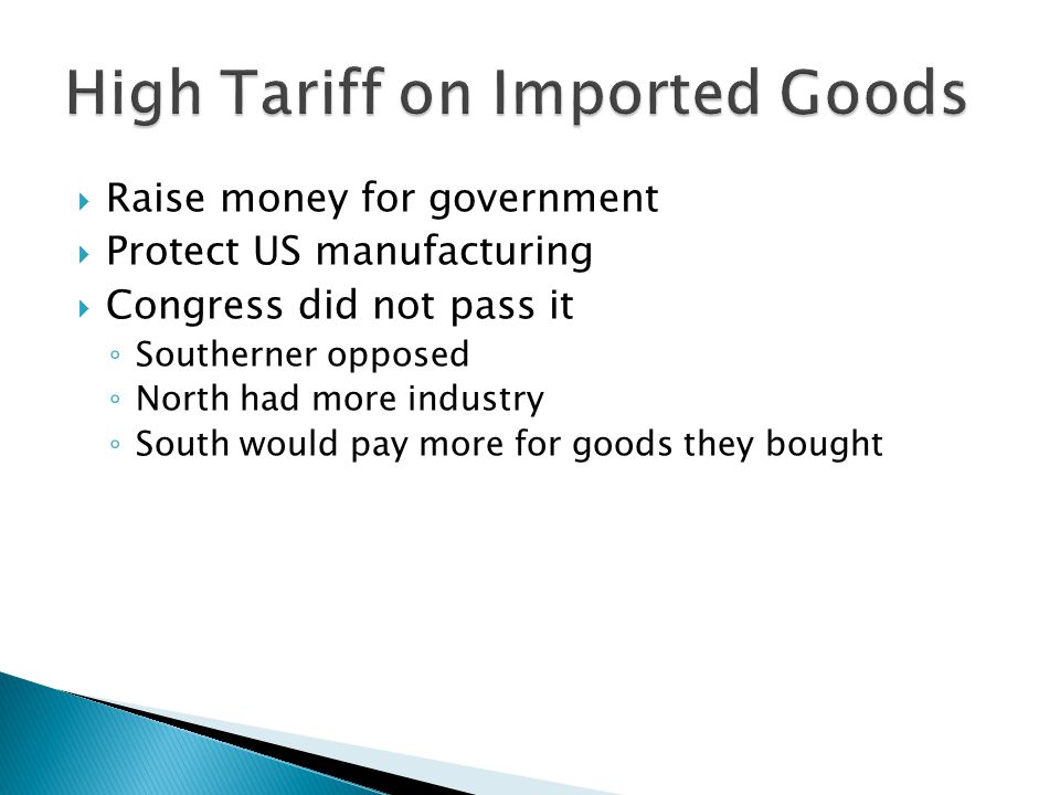 High Tariff on Imported Goods