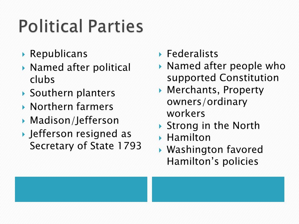 Political Parties Republicans Named after political clubs