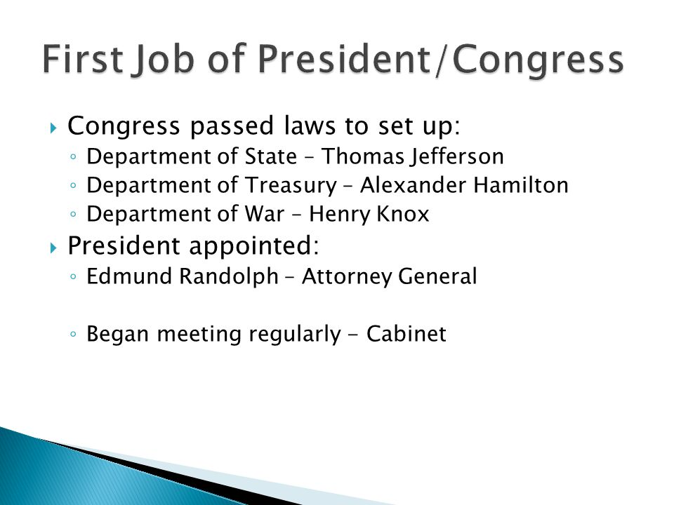 First Job of President/Congress