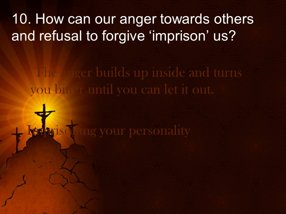 10. How can our anger towards others and refusal to forgive 'imprison' us