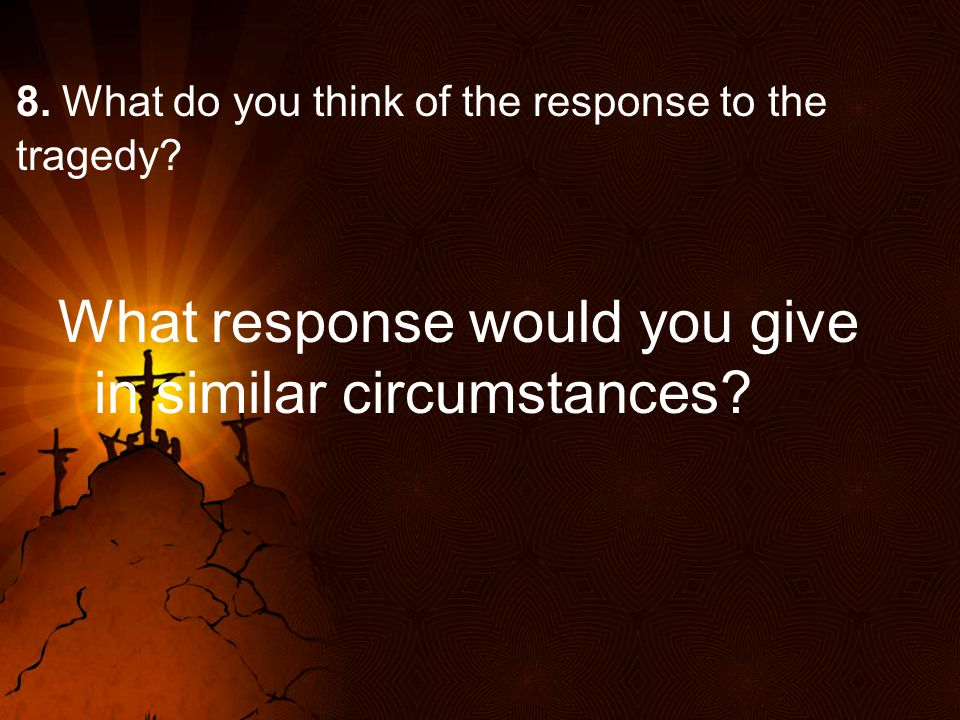 8. What do you think of the response to the tragedy