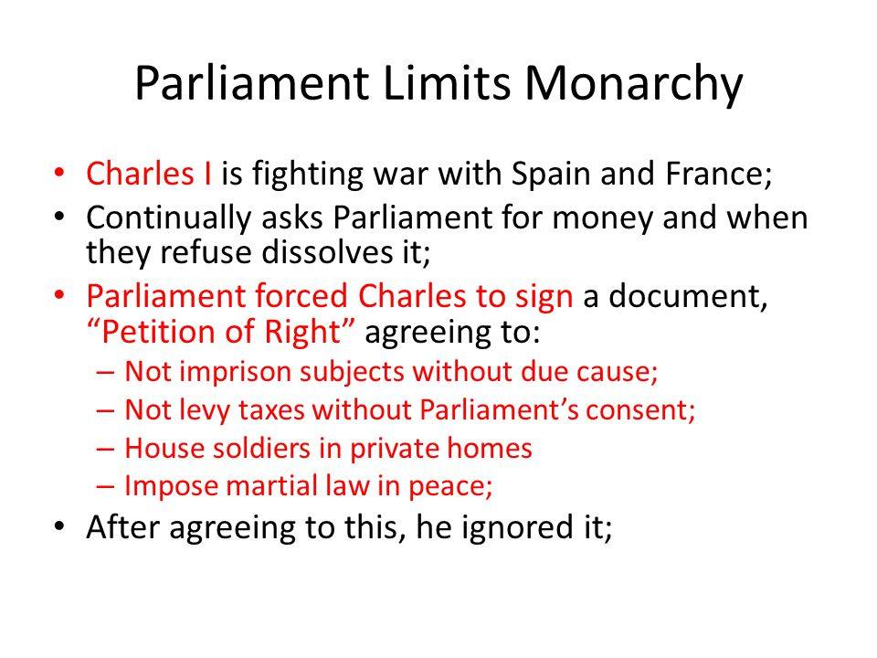 Parliament Limits Monarchy