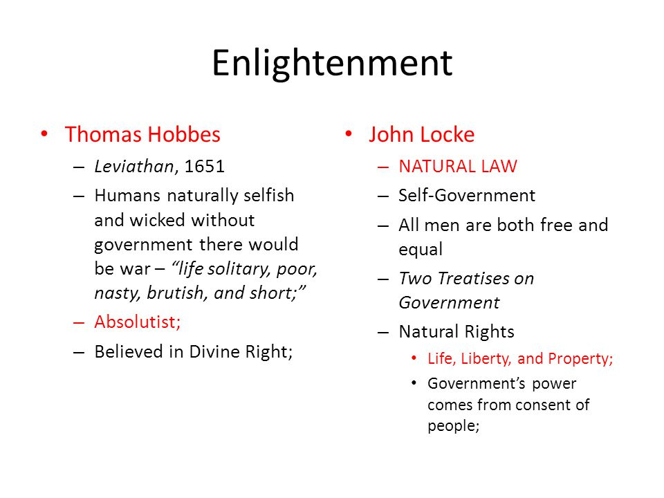 Enlightenment Thomas Hobbes John Locke Leviathan, 1651