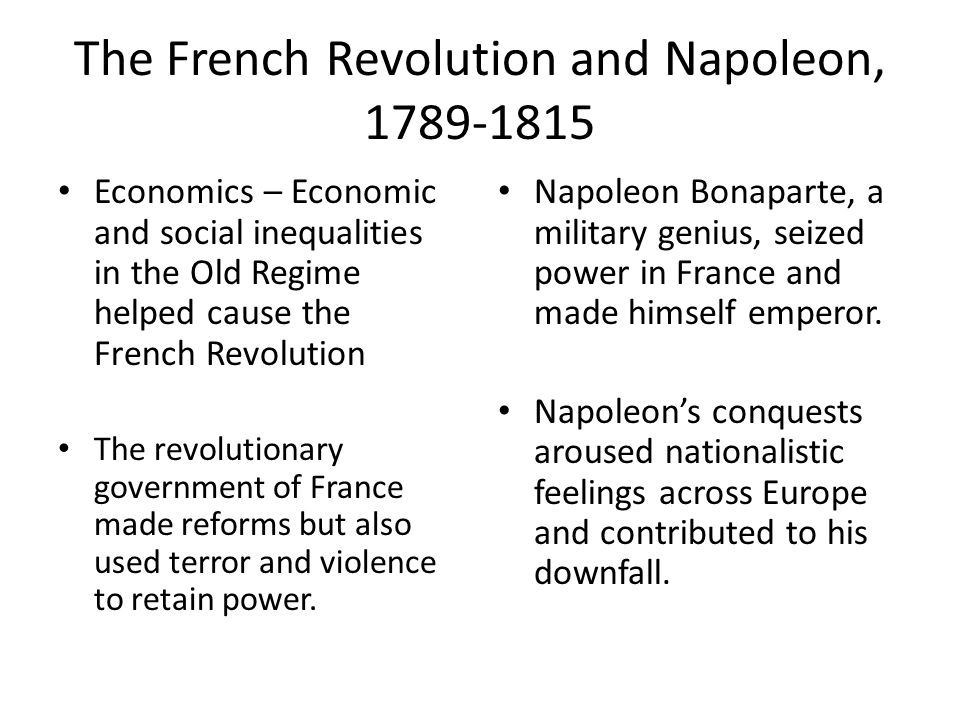 The French Revolution and Napoleon, 1789-1815