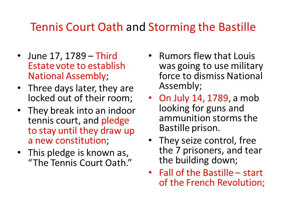 Tennis Court Oath and Storming the Bastille