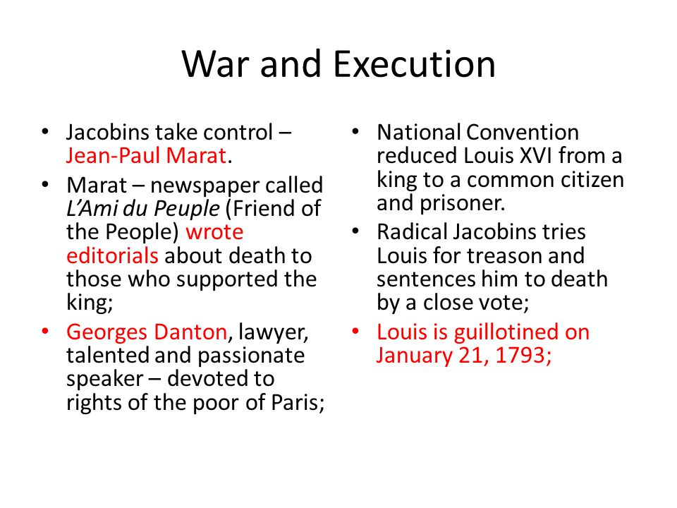War and Execution Jacobins take control – Jean-Paul Marat.