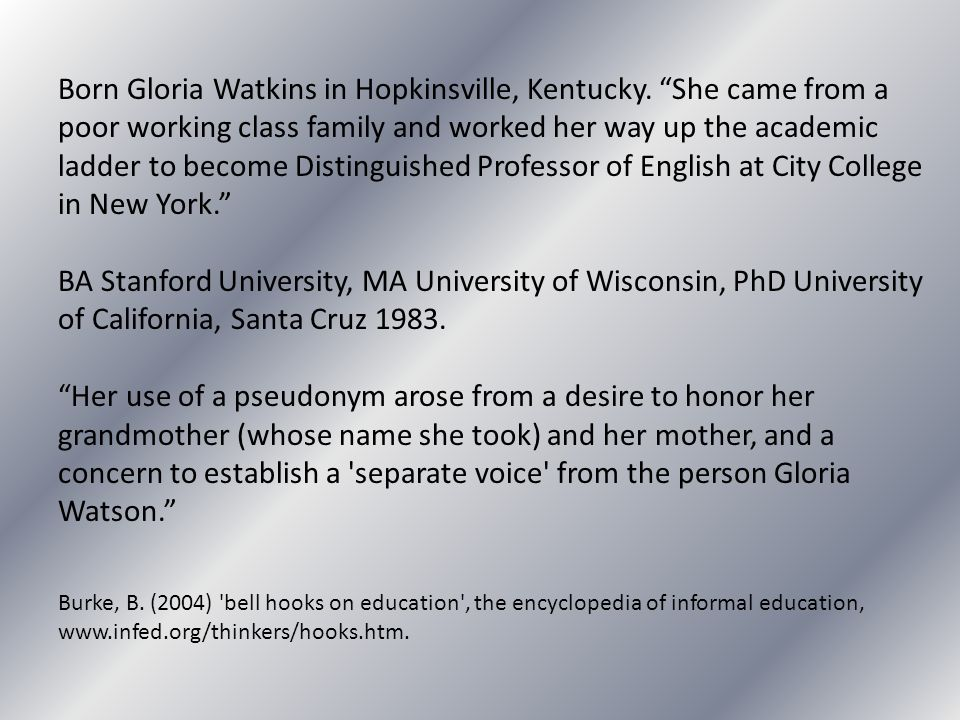 Born Gloria Watkins in Hopkinsville, Kentucky