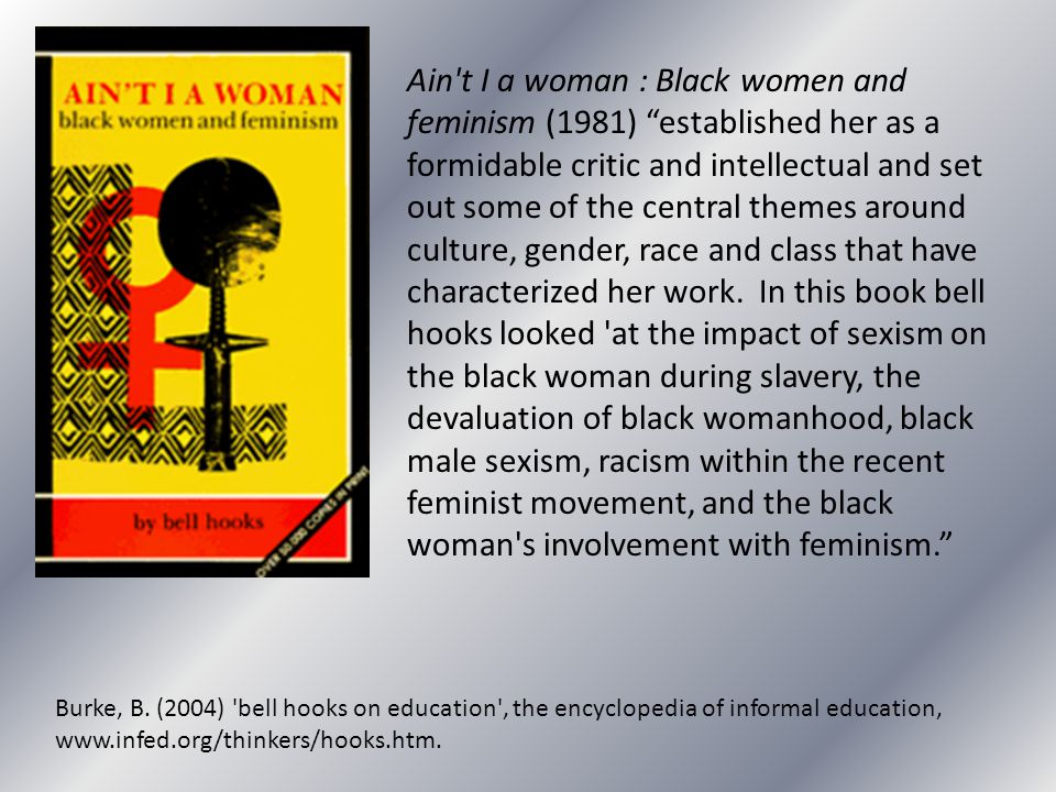 Ain t I a woman : Black women and feminism (1981) established her as a formidable critic and intellectual and set out some of the central themes around culture, gender, race and class that have characterized her work. In this book bell hooks looked at the impact of sexism on the black woman during slavery, the devaluation of black womanhood, black male sexism, racism within the recent feminist movement, and the black woman s involvement with feminism.