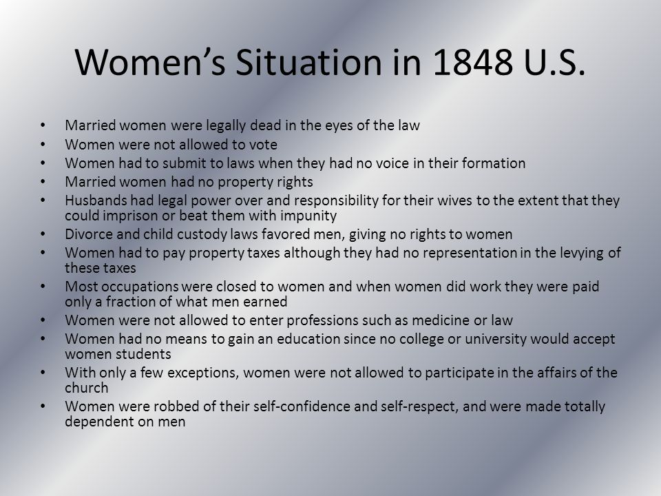 Women's Situation in 1848 U.S.