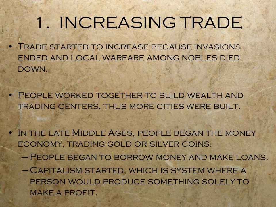 Trading system in middle ages
