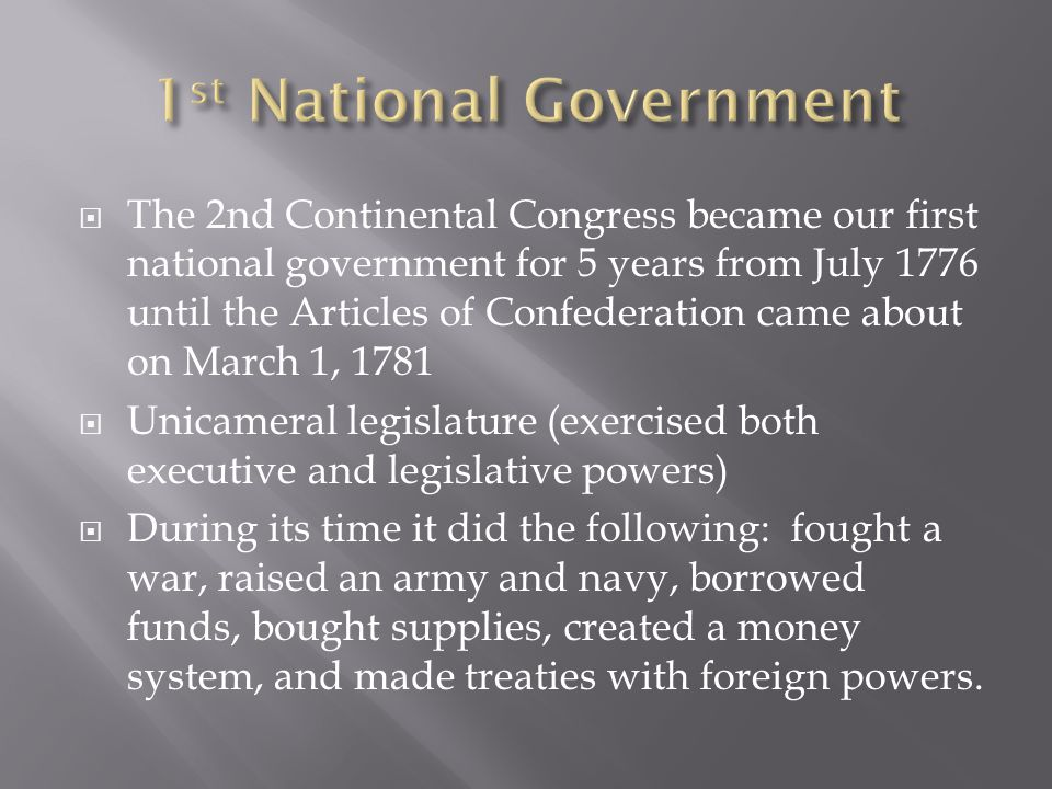 1st National Government