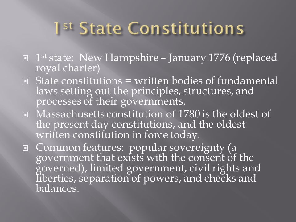1st State Constitutions