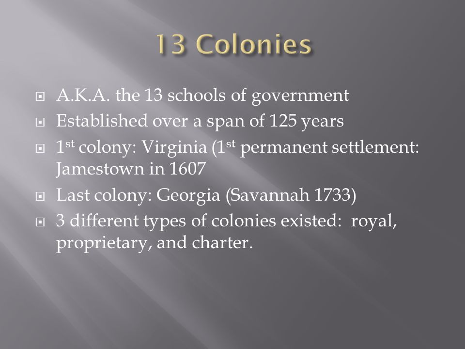 13 Colonies A.K.A. the 13 schools of government