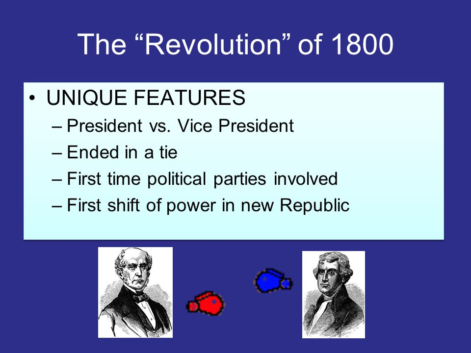 The Revolution of 1800 UNIQUE FEATURES President vs. Vice President