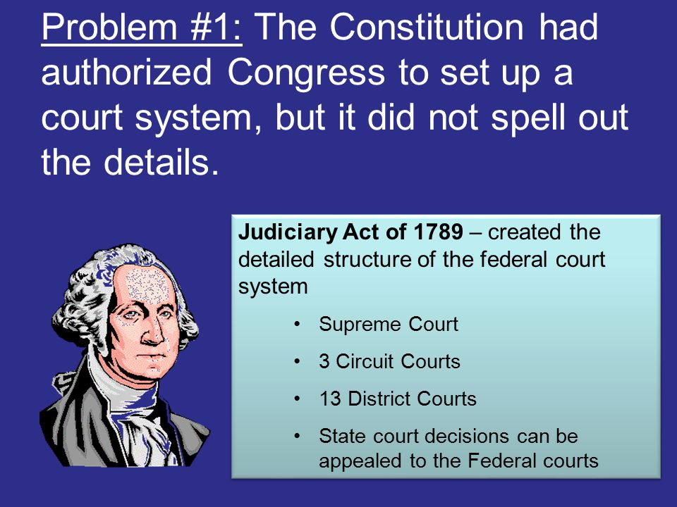Problem #1: The Constitution had authorized Congress to set up a court system, but it did not spell out the details.
