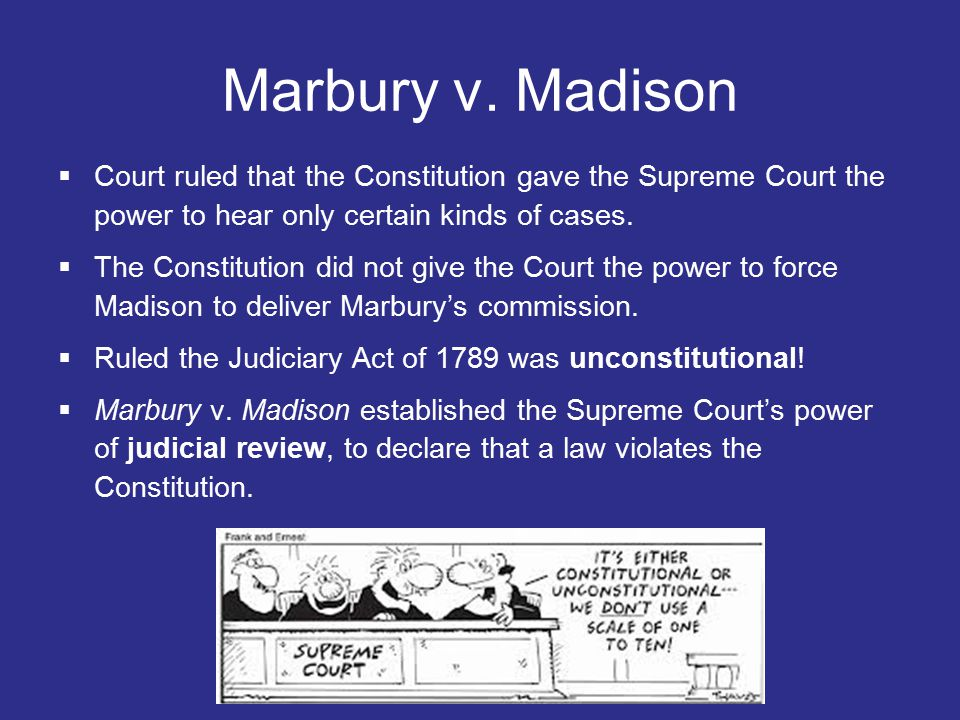 Marbury v. Madison Court ruled that the Constitution gave the Supreme Court the power to hear only certain kinds of cases.