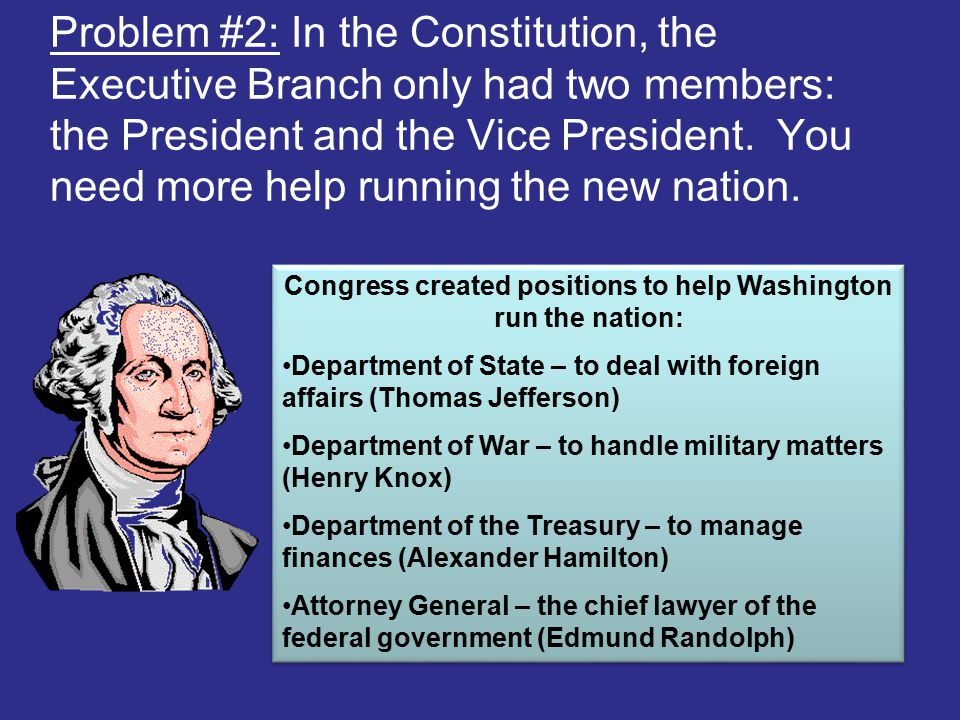 Congress created positions to help Washington run the nation: