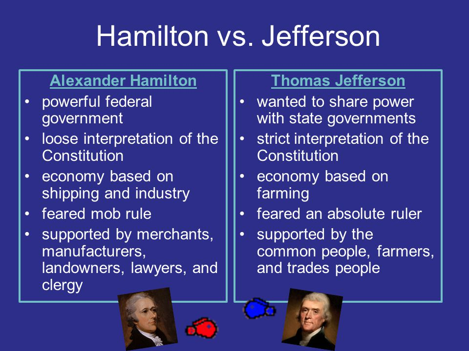 Hamilton vs. Jefferson Alexander Hamilton powerful federal government
