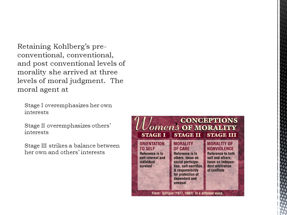 Retaining Kohlberg's pre-conventional, conventional, and post conventional levels of morality she arrived at three levels of moral judgment. The moral agent at