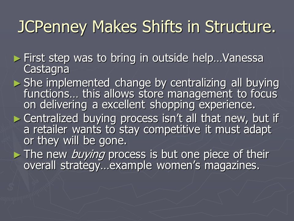 JCPenney Makes Shifts in Structure.