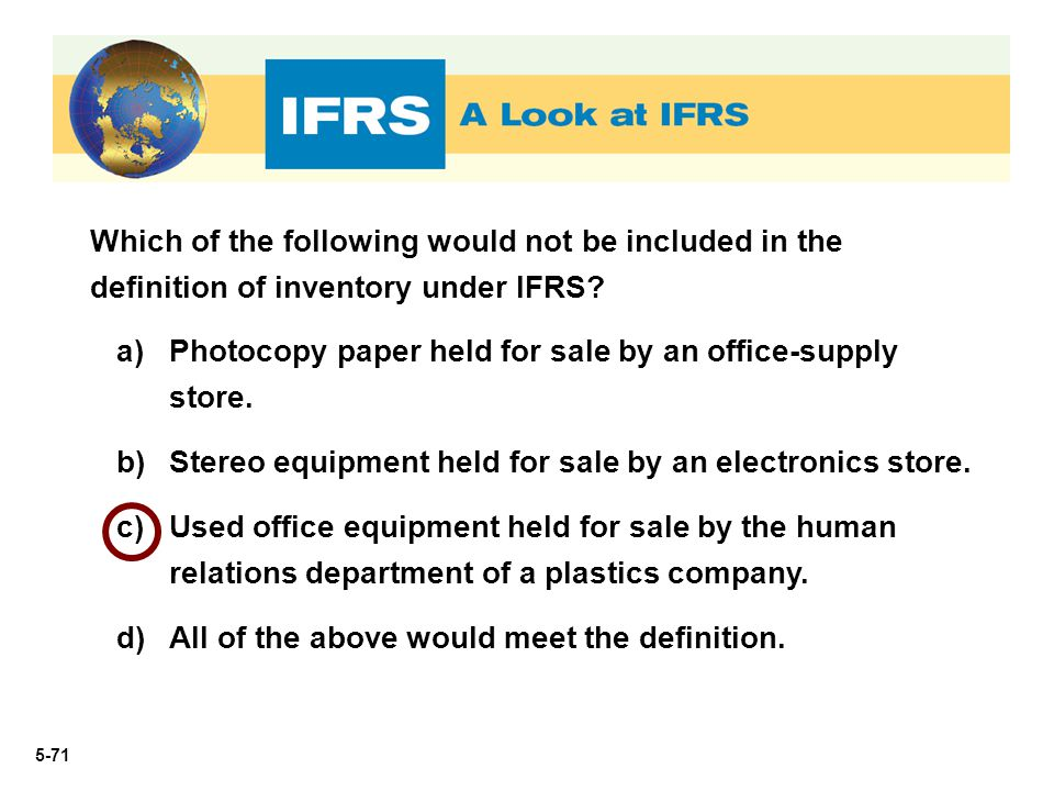 Which of the following would not be included in the definition of inventory under IFRS