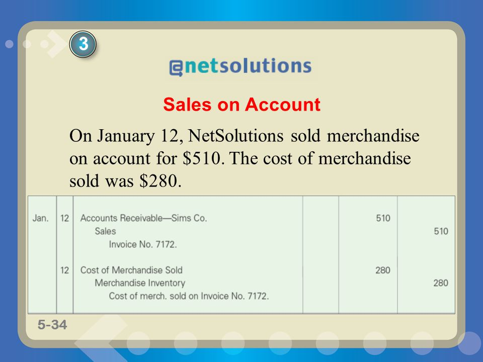 3 Sales on Account. On January 12, NetSolutions sold merchandise on account for $510.