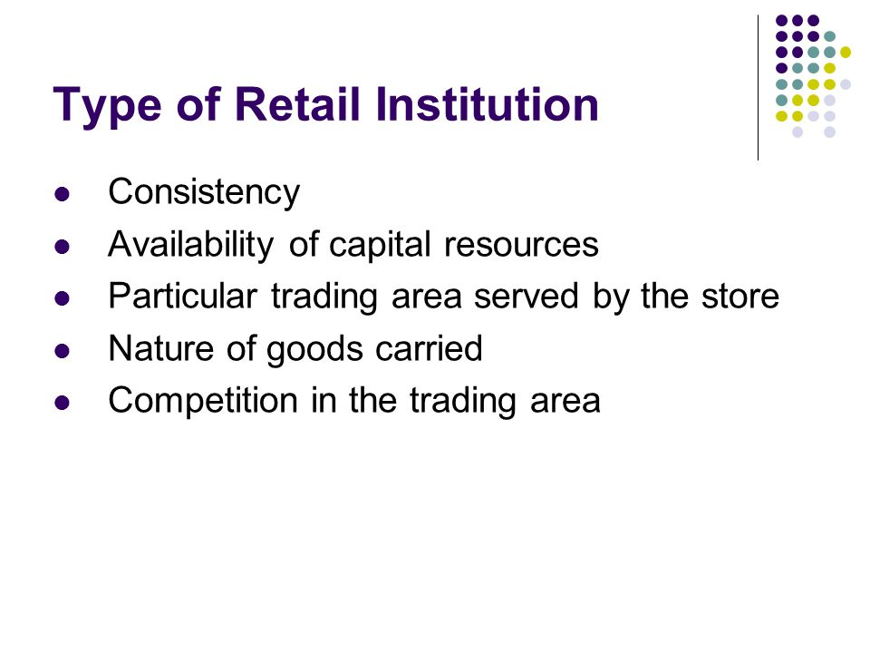 Type of Retail Institution