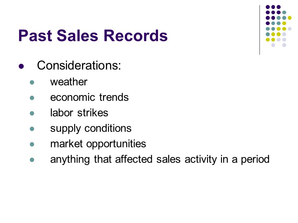 Past Sales Records Considerations: weather economic trends