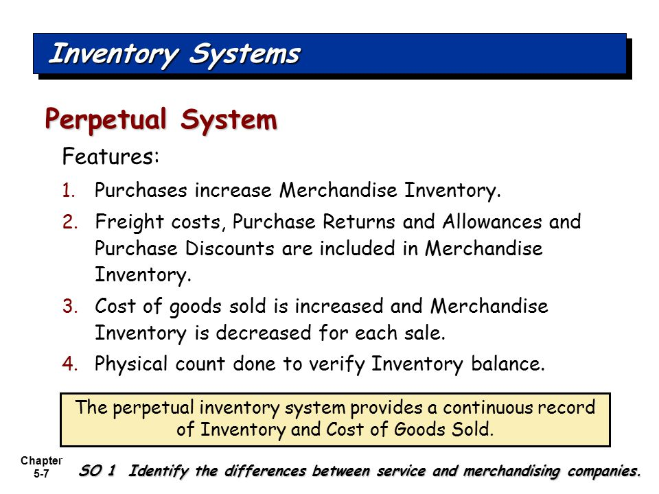 Inventory Systems Perpetual System Features: