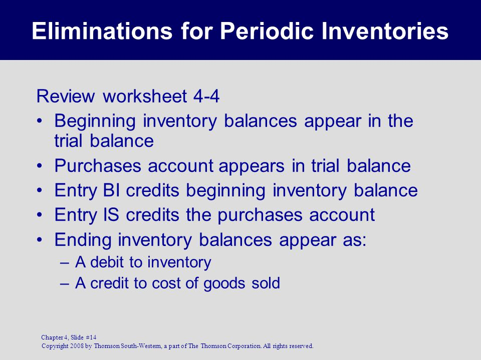 Eliminations for Periodic Inventories