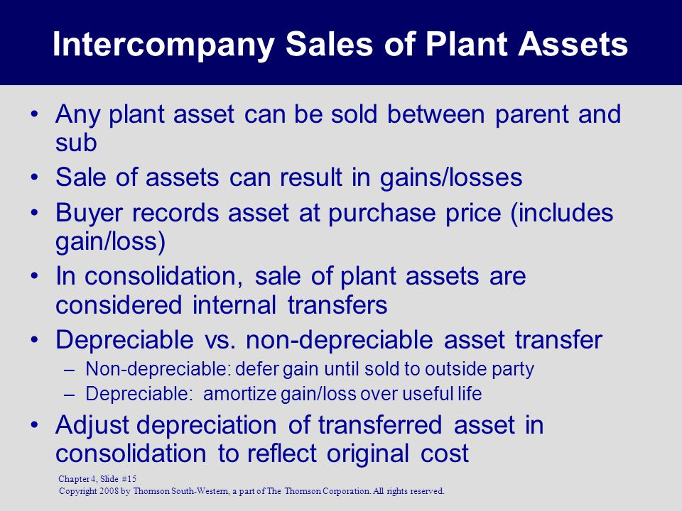Intercompany Sales of Plant Assets
