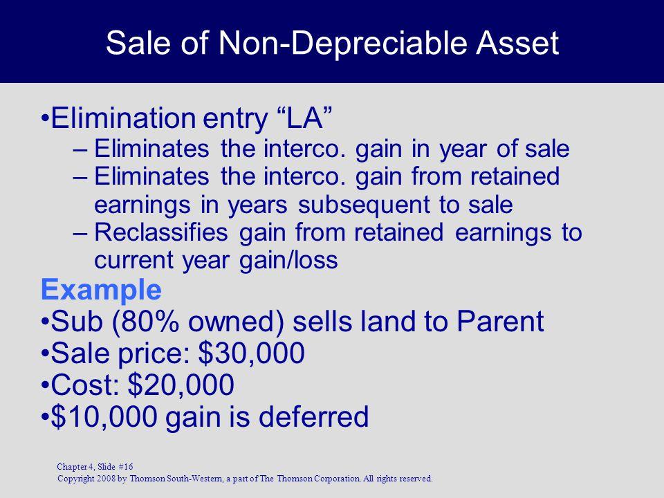 Sale of Non-Depreciable Asset