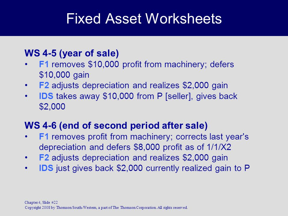 Fixed Asset Worksheets