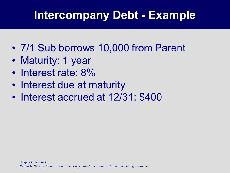 Intercompany Debt - Example