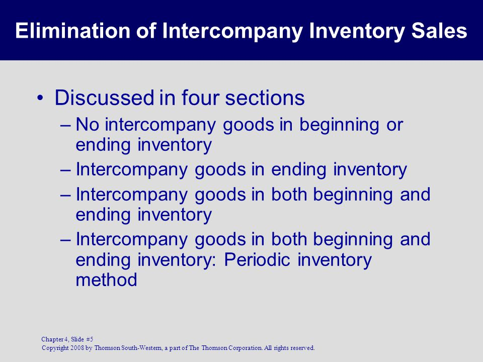 Elimination of Intercompany Inventory Sales