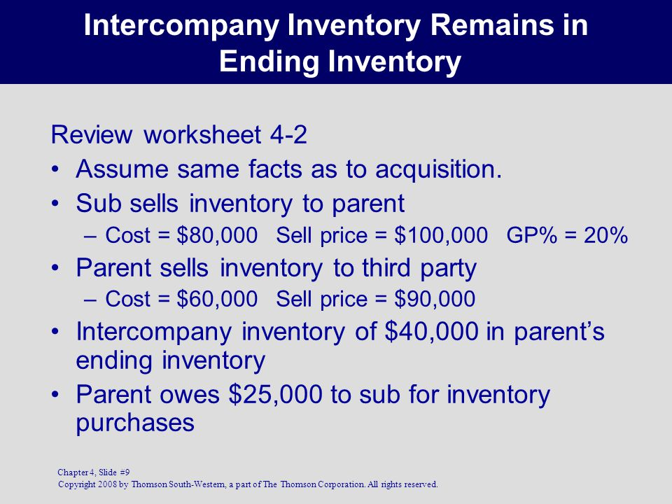 Intercompany Inventory Remains in Ending Inventory