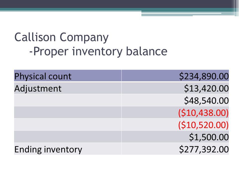 Callison Company -Proper inventory balance